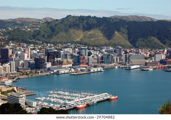 Wellington Harbour, North Island, New Zealand, taken from Mount Victoria overlooking Oriental Bay