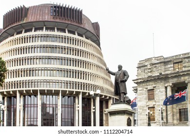 Wellington, New Zealand - 18 July 2016: The 'Beehive' is the popular name for the Executive Wing of the parliamentary house complex because of the building's shape.