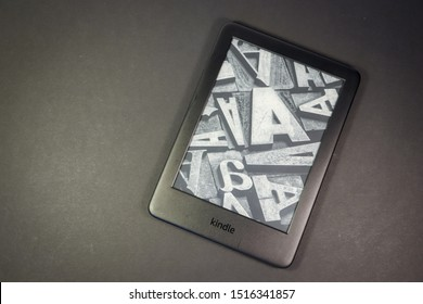 Wellington, New Zealand, 20 August 2019: Amazon Kindle on black background