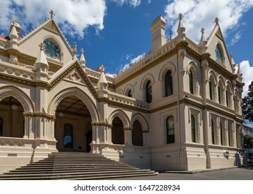 Wellington, New Zealand - 28 December 2019: The New Zealand Parliamentary Library,  designed in Gothic revival style and completed in 1899.