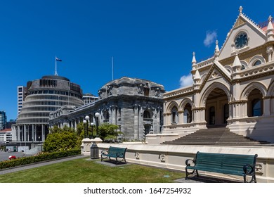 Wellington, New Zealand - 28 December 2019: The Parliamentary Buildings - Bowen House (behind the Beehive), Beehive, Parliament House and Parliamentary Library