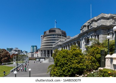 Wellington, New Zealand - 28 December 2019: The Parliamentary Buildings - Beehive, Parliament House and Parliamentary Library