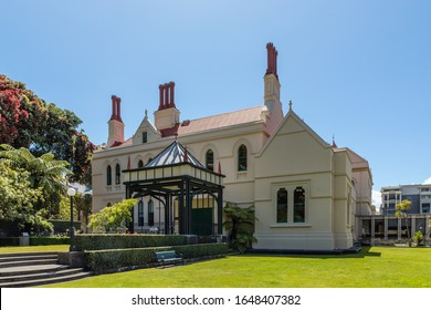 Wellington, New Zealand - 28 December 2019: backside of the New Zealand Parliamentary Library,  designed in Gothic revival style and completed in 1899.