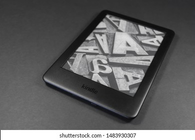 Wellington, New Zealand, August 21 2019: Amazon Kindle 2019 on black background