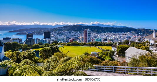 Wellington, New Zealand - Feb. 11, 2017: View of Wellington, looking southeast, as seen from Kelburn cable car station.