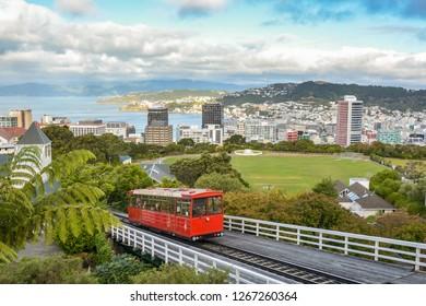 Wellington, New Zealand - February 15, 2015: Wellington funicular driving from Lambton Quau to Kellburn suburbs with beautiful views in background in Wellington, New Zealand during February 2015
