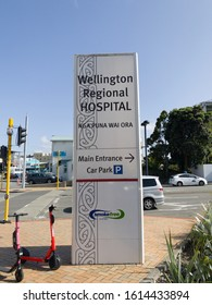 Wellington / New Zealand - January 14 2020: Electric Scooters parked by the sign for Wellington Hospital