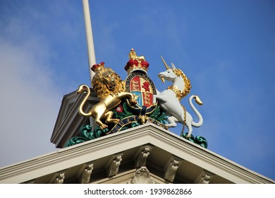 Wellington, New Zealand - July 17, 2011: the Lion and the Unicorn royal United Kingdom coat of arms atop the Victoria University of Wellington Law and Business School building in Pipitea