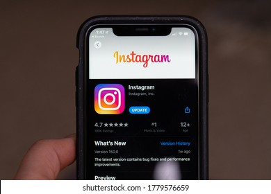 Wellington / New Zealand - July 20 2020: Close up of the Instagram app in an app store on a phone