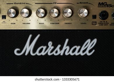 Wellington / New Zealand - March 1 2019: Close up of a Marshall Amp