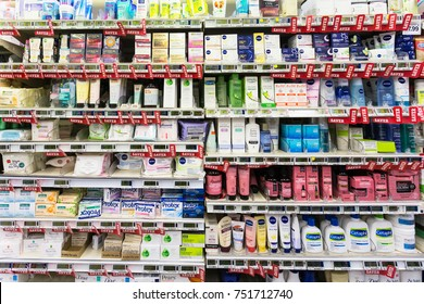 WELLINGTON, NEW ZEALAND - MARCH 1, 2017: Cosmetic and other women hygiene products are displayed in a supermarket in Wellingtion in New Zealand capital city.