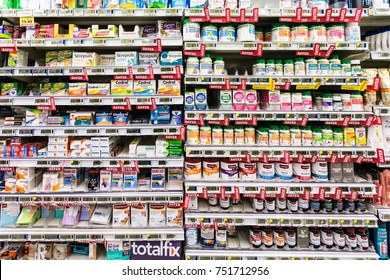 WELLINGTON, NEW ZEALAND - MARCH 1, 2017: Flu and general pain drugs and supplements are displayed in a supermarket in Wellingtion in New Zealand capital city.