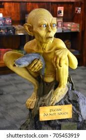 WELLINGTON, NEW ZEALAND - MARCH 22, 2015. Sculpture of Gollum at Weta Cave minimuseum in Wellington.