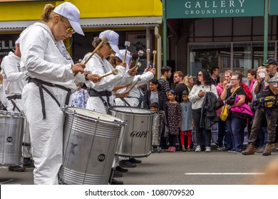 Wellington, New Zealand - March 24, 2018: Drummers performing at Cuba Dupa Festival 2018 in Wellington, New Zealand.