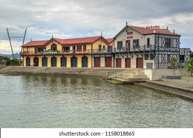 Wellington / New Zealand - March 24 2018: Historic Buildings and Event Venues on the Wellington Waterfront: The Boatshed (1874) and the Wellington Rowing Club (1894).