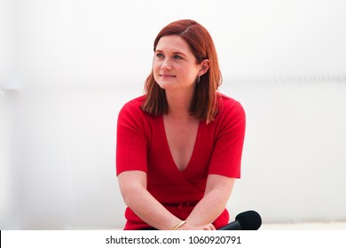 WELLINGTON, NEW ZEALAND - March 30: Bonnie Wright, who played Ginny Weasley in the Harry Potter Movies, answers questions at the Armageddon 2018 live panel session.