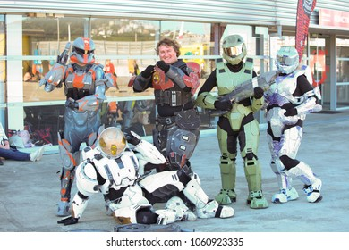 WELLINGTON, NEW ZEALAND - March 30:   Cosplay fans dressed as Halo characters at Armageddon 2018