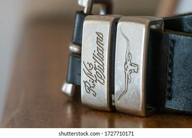 Wellington / New Zealand - May 11 2020: RM Williams Belt Buckle Close Up