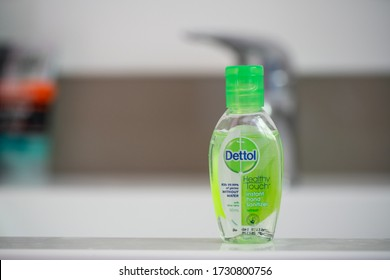 Wellington / New Zealand - May 11 2020: A Small bottle of Dettol hand sanitizer