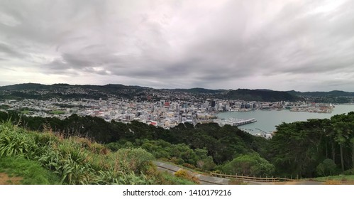 Wellington / New Zealand - May 28 2019: Panoramic view of Wellington city and  Lambton Harbour from Mount Victoria lookout