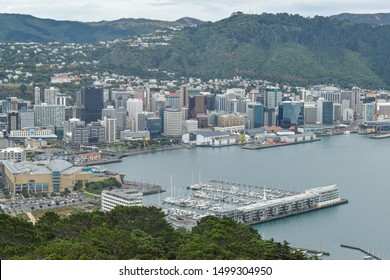 Wellington / New Zealand - May 28 2019: View of Wellington city and Lambton Harbor from Mount Victoria