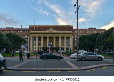 Wellington / New Zealand - May 28 2019: View of Wellington Railway Station in evening light