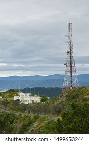 Wellington / New Zealand - May 28 2019: Vertical view of Radio Tower from Mount Victoria lookout