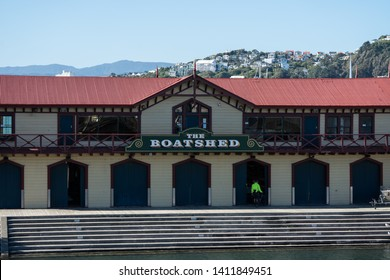 Wellington / New Zealand - May 29 2019: The Boatshed building on the waterfront
