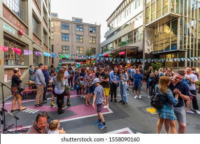 Wellington, New Zealand - November 02, 2019: People celebrate at Dia De Los Muertos Street Fiesta, a free annual street festival celebrating life and past loved ones.