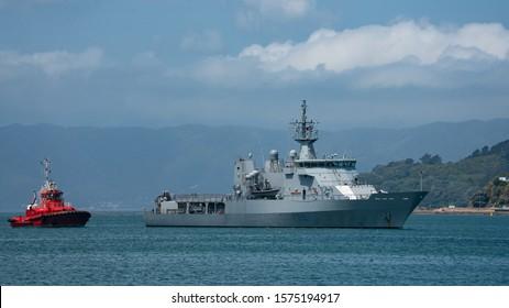 Wellington, New Zealand - November 29 2019: HMNZS Wellington, a protector-class off-shore patrol vessel in the Royal New Zealand Navy sailing into Wellington harbour. The ship was built by Tenix.