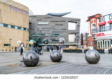 WELLINGTON, NEW ZEALAND - OCTOBER 1; Other Worlds sculpture by Ruth Watson installed in 2018  and grey light balls by Chris Gregory on Wellington waterfront  October 1 2018 Wellington New Zealand