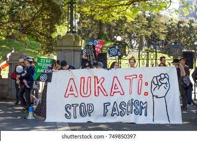 Wellington, New Zealand - October 28, 2017: Protesters at New Zealand Parliament Building for inclusion and diversity hosted by Migrant & Refugee Rights Campaign.