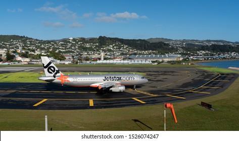 Wellington, New Zealand - October 9 2019: Jetstar airplane at  Wellington airport