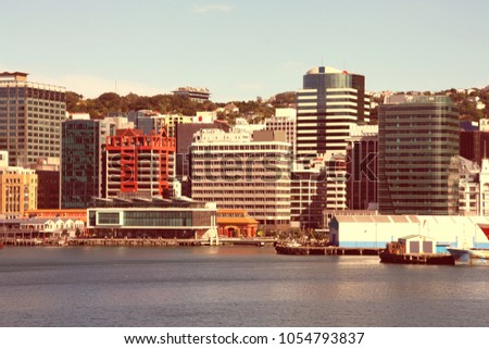Wellington New Zealand Skyscraper City Skyline Stock Photo