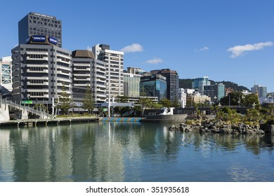 WELLINGTON, NORTH ISLAND/NEW ZEALAND - JANUARY 28, 2015: Wellington skyline from the waterfront. Wellington is the capital city and second most populous urban area of New Zealand.