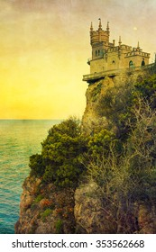 The well-known castle Swallow's Nest or Lastochkino Gnezdo near Yalta, Crimea. With vintage postcard style.