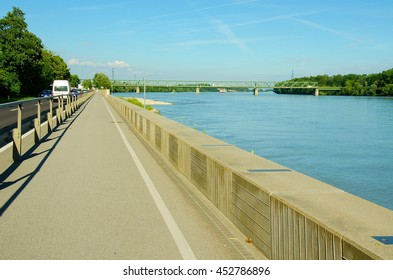 Well-known Danube cycle trail running along the Danube river in Austria. Danube bicycle track is among the most beautiful, oldest and longest cycling tracks in Europe.
