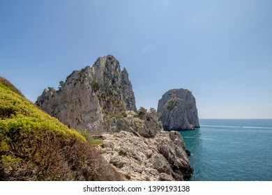 The well-known Faraglioni rocks in front of the island of Capri, Italy