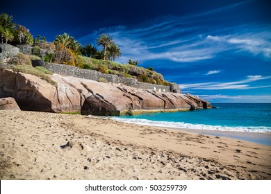 well-known sandy beach Playa Del Duque in Costa Adeje, Tenerife, Canary Islands