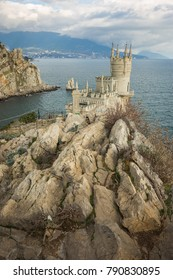 Well-known Swallow's Nest castle on rock at Black Sea in Crimea in Russia
