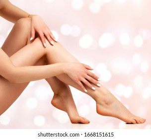 Wellness and beauty concept, beautiful slim woman in white underwear on abstract background with blurred lights