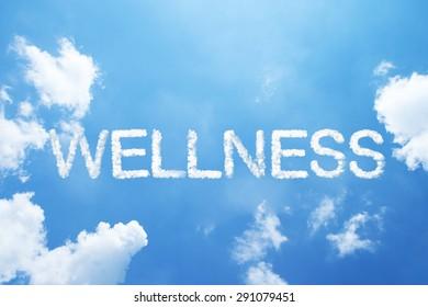 """wellness"" cloud word on sky."