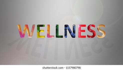 Wellness concept with fruits and vegetable within the text