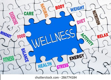wellness concept:puzzle with missing parts
