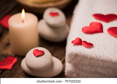Wellness decoration on wooden table .Valentine's Day concept