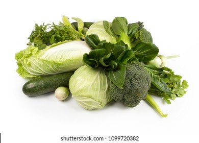Wellness of green vegetable food for diet and healthy eating isolated white background