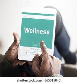 Wellness Health Living search on tablet