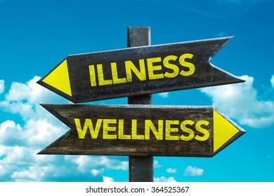 Wellness - Illness signpost with sky background