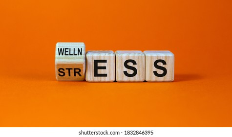 Wellness instead of stress. Turned a cube and changed the word 'stress' to 'wellness'. Beautiful orange background. Concept. Copy space.