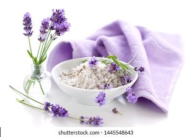 Wellness with lavender bath salt